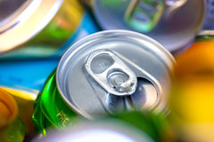 Empty beer cans. Colorful empty beer cans - recyclable metal waste Royalty Free Stock Photo