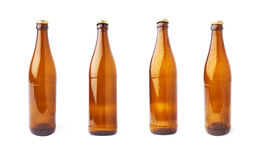 Empty beer glass bottle isolated over white background royalty free stock images