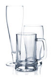 Empty beer glass set Royalty Free Stock Photo