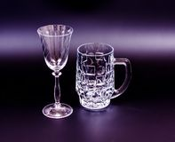 Beer mug and wine glass Royalty Free Stock Photos