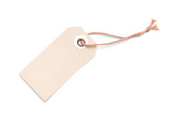 Beige Label with Cord on White Background Royalty Free Stock Photo