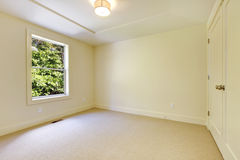 Empty beige new bedroom interior. Stock Images