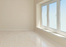 Empty beige room. With window and tiled floor Stock Images