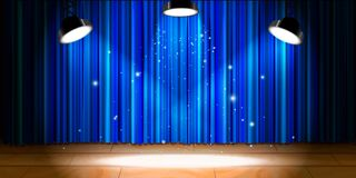 Empty beige wooden stage with blue drape and bright light. Bright empty beige wooden stage with blue drape and bright light stock illustration