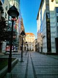 Empty Belgrade city street. Empty street in the middle of the day Royalty Free Stock Photo