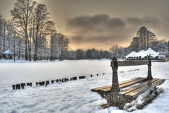 Empty bench. Winter scene with an empty bench near a frozen lake Stock Image