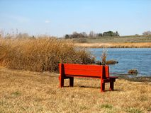 Empty Bench. Empty Red Bench Royalty Free Stock Image