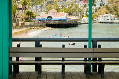 Empty Bench at Beach Resort Royalty Free Stock Image