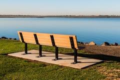 Empty Bench at Chula Vista Bayfront Park. Facing San Diego bay Stock Photo