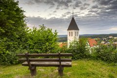 Empty bench at the church Royalty Free Stock Photography