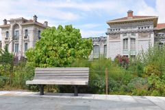 Empty bench in the city, a place of rest Stock Photos