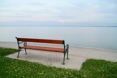 Empty bench at lake Balaton Royalty Free Stock Photography