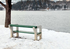 Empty bench on Lake Bled, Slovenia. Beautiful winter landscape with empty bench on Lake Bled, Slovenia Stock Photography