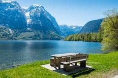 Empty bench,lakeside Stock Photos