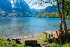 Empty bench,lakeside Royalty Free Stock Photo