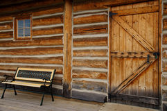 Empty Bench Log Cabin Door Window Royalty Free Stock Photos