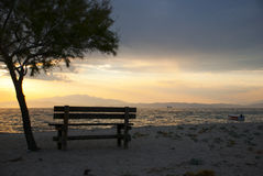 Empty bench looking at sea Royalty Free Stock Image