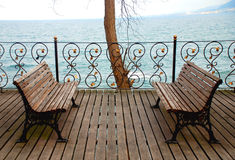 Free Empty Bench Looking To Sea. Royalty Free Stock Images - 69394679