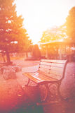 Empty bench in morning warm tone, classic light leak vintage color tone Stock Photos