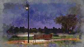 Empty bench in night autumn park watercolor sketch stock illustration