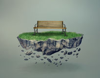 Empty Bench On A Stony Island Floating In Midair Stock Images