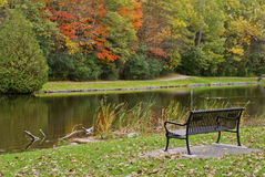 Empty Bench overlooking the water. An empty bench overlooks the water on an autumn day Stock Photo