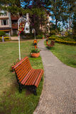 Empty bench in park Stock Image