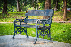 Empty Bench in the park. Stock Photos