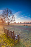 Empty Bench at park during a winter Sunrise Royalty Free Stock Photography