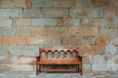 The empty bench on the promenade at the monastery Stock Photo