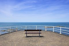 Empty bench with sea view Royalty Free Stock Photo