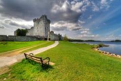 Empty bench at Ross castle. Ross Castle near Killarney, Co. Kerry Ireland Royalty Free Stock Photos