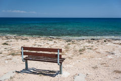 Empty bench at sea Royalty Free Stock Photography