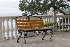 Empty bench in a seaside Stock Photography