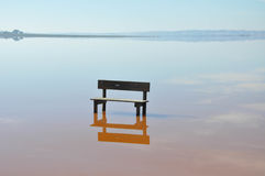 An empty bench standing in the middle of the water. Sunny day. Calm water. Stock Photos