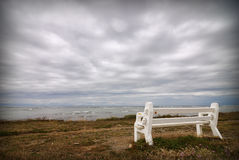 Empty bench and stormy weather Stock Image