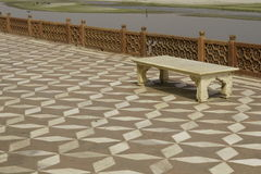 Empty Bench at the Taj Mahal Royalty Free Stock Photography