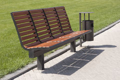 Empty bench and urn-table. An empty bench and urn-table in the park at the Donbass Arena Royalty Free Stock Photos