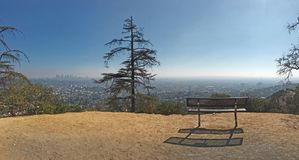 Empty bench with view of Los Angeles stock images