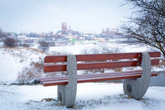 Empty bench at Wierzyca river in Poland Stock Photos