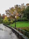 Empty benches in Central Park. A row of empty benches in a rainy fall day in Central Park, New York, NY, USA Royalty Free Stock Images