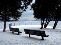 Empty Benches on Lake George Royalty Free Stock Images
