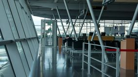 Empty benches at stuttgart airport. Empty benches and more windows at stuttgart airport stock footage