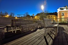 Empty benches at night Royalty Free Stock Image