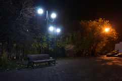 An empty benchs in city boulevard, avenue. Alley at the foggy street at night royalty free stock images