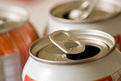 Empty Beverage Cans. Close-up view of the top of empty, pull tab beverage cans stock image