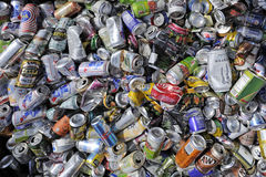 Empty beverage cans for recycling. Moab, UT, USA - June 4, 2015: Empty beverage cans for recycling in a roadside container at Moab, Utah. The cans used for Royalty Free Stock Images