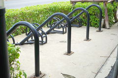Empty bicycle parking area. Near public road Royalty Free Stock Photo