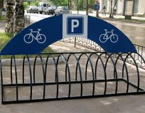 Bicycle parking rack. Empty bicycle parking rack in a city Royalty Free Stock Photos