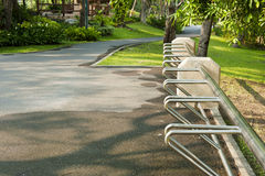 Empty bicycle rack for parking bicycles Stock Image